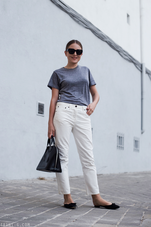 Trini   The Row Ashland jeans Manolo Blahnik slides