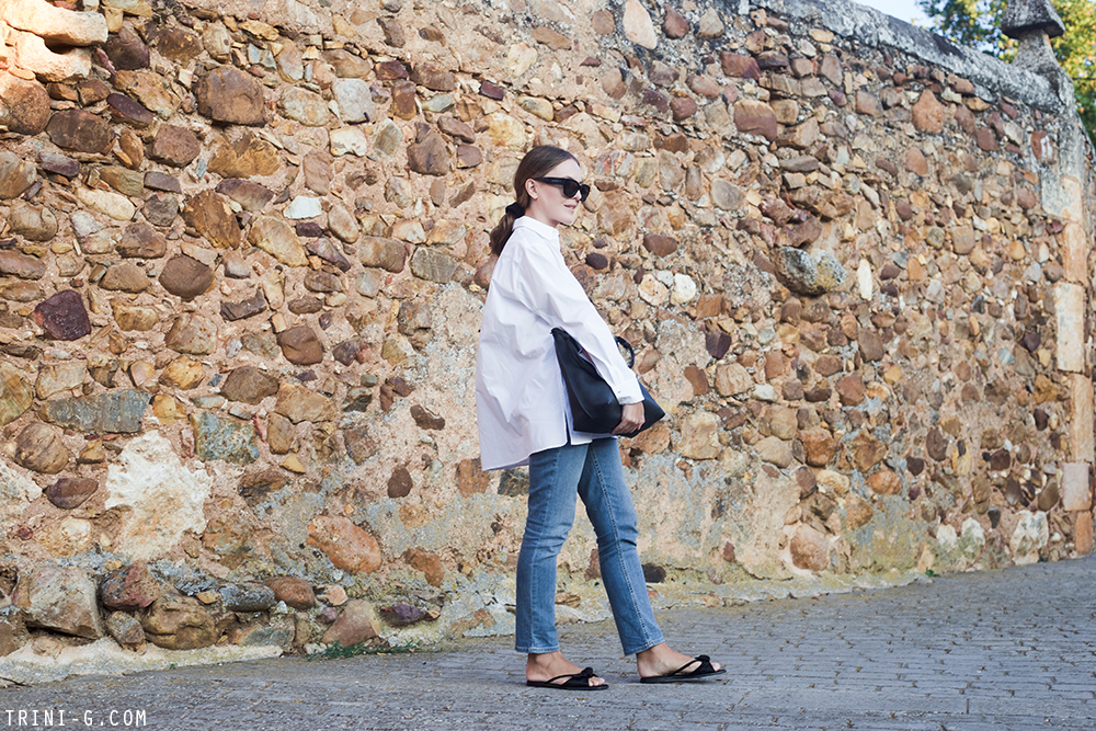 Trini | The Row white shirt Gap jeans