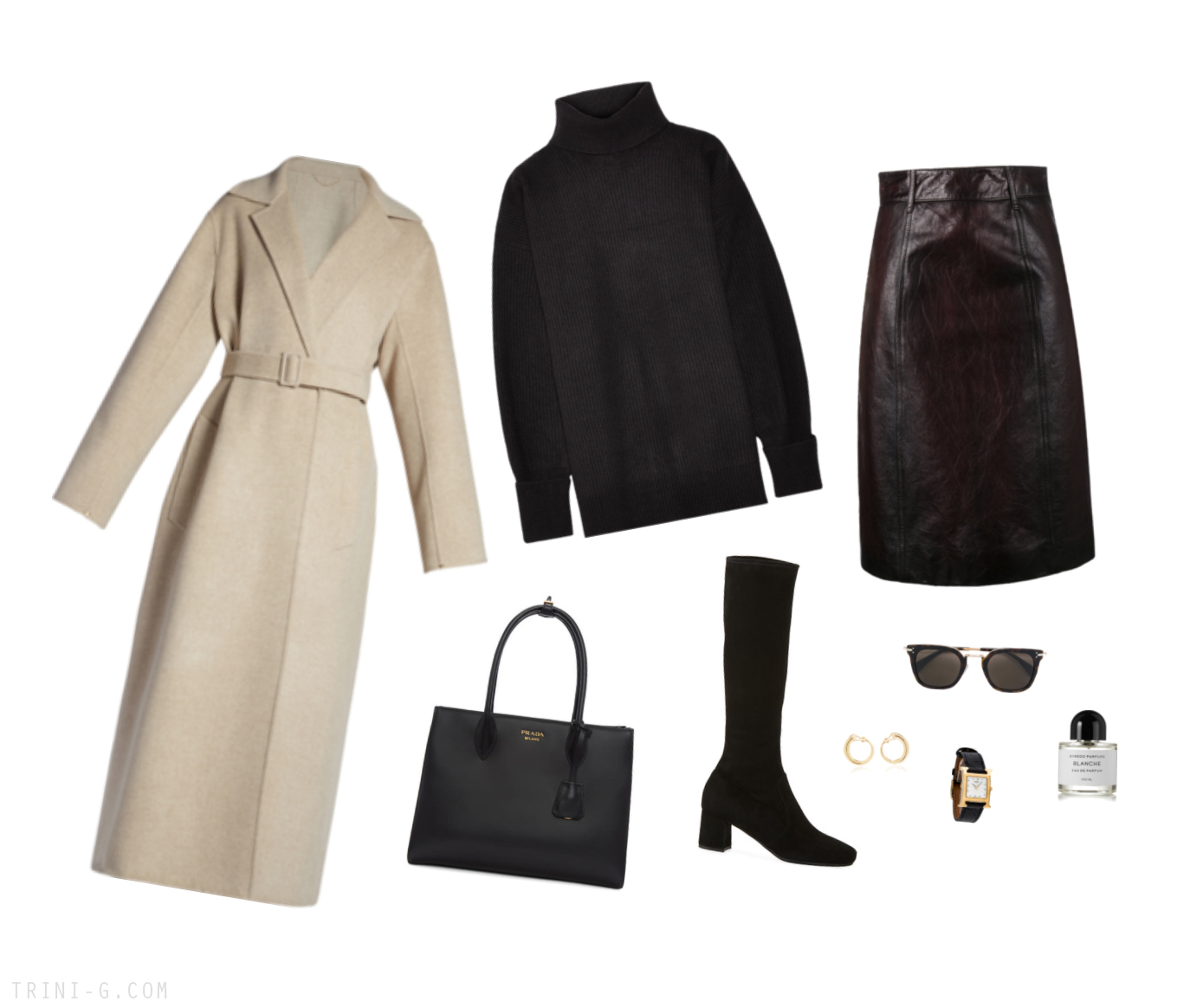 Trini | The Row coat Prada skirt