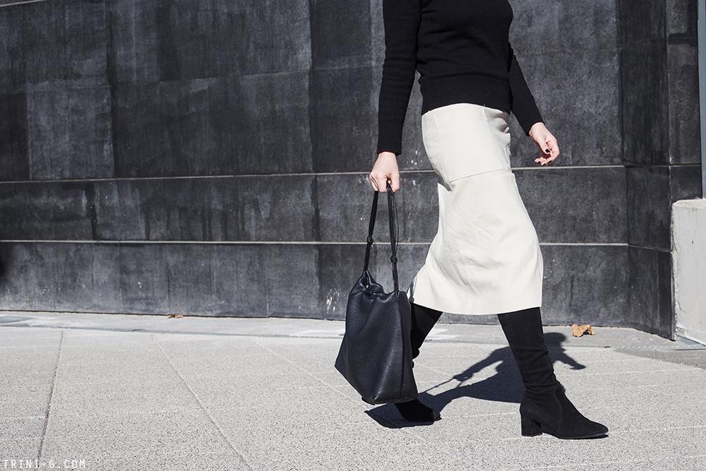 Trini | Acne Studios skirt Prada boots