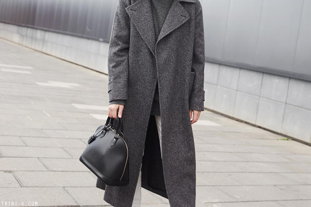 Trini | Max Mara grey coat The Row jeans