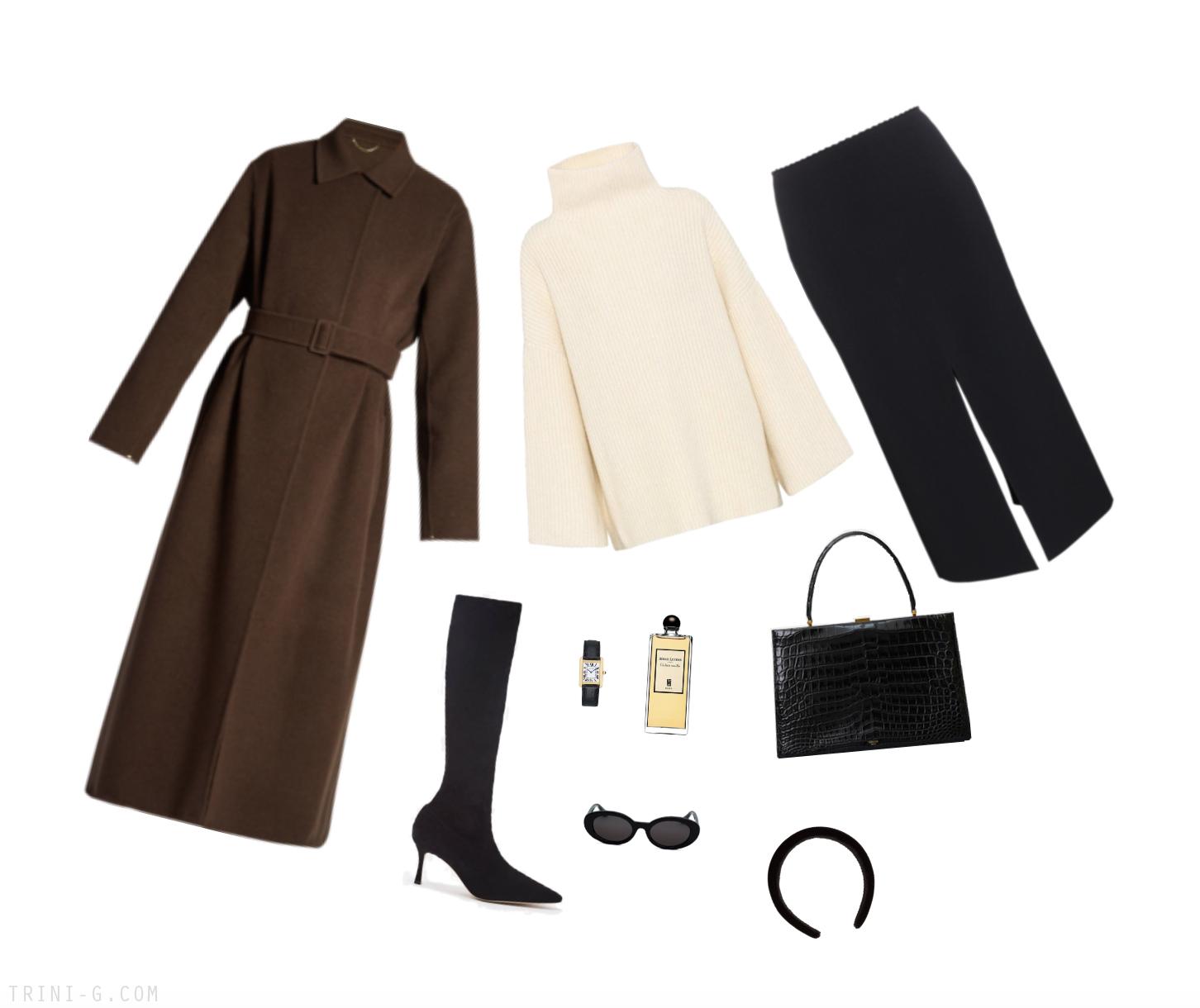 Trini | The Row coat Celine bag Proenza Schouler skirt