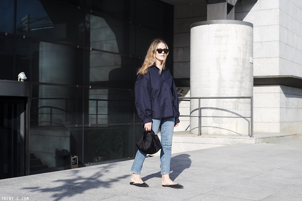 Trini | Céline shirt Manolo Blahnik slippers