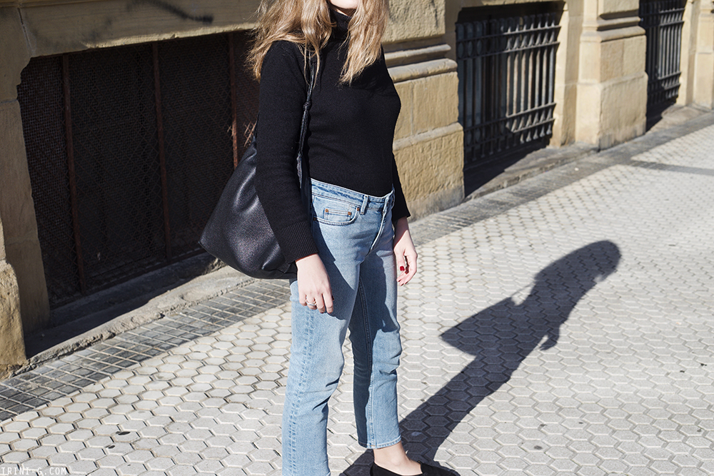 Trini | Acne Studios jeans Petit Bateau turtleneck The Row loafers