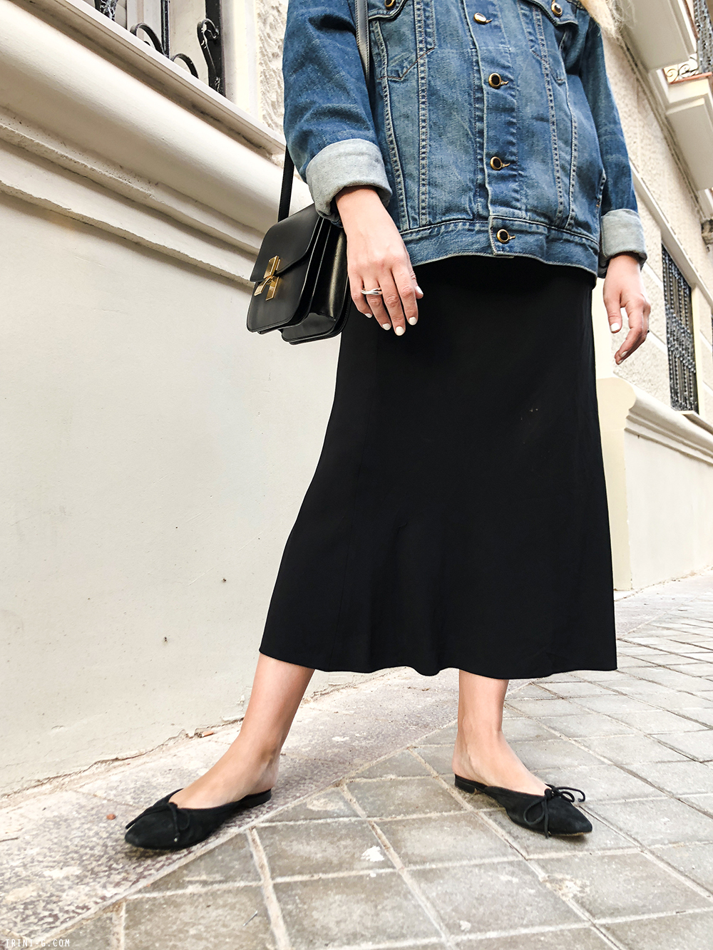 Trini |Khaite denim jacket The Row skirt