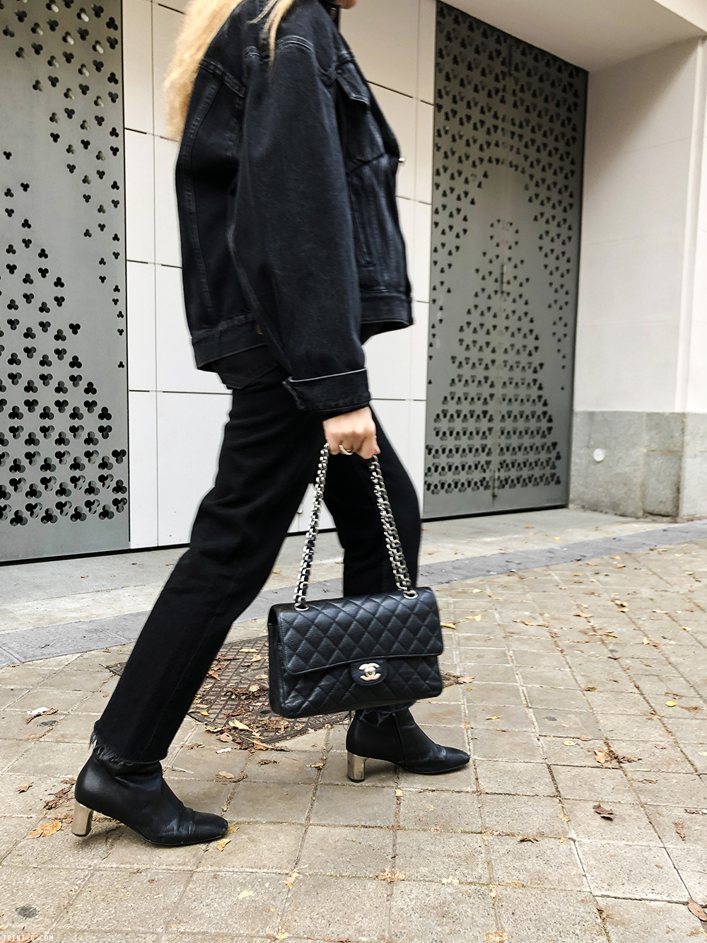 Trini | Balenciaga swing jacket Celine Bam Bam boots