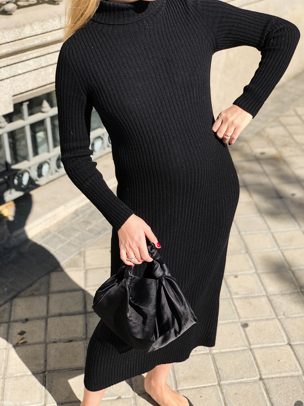 Trini | Max Mara turtleneck dress  Manolo Blahnik shoes