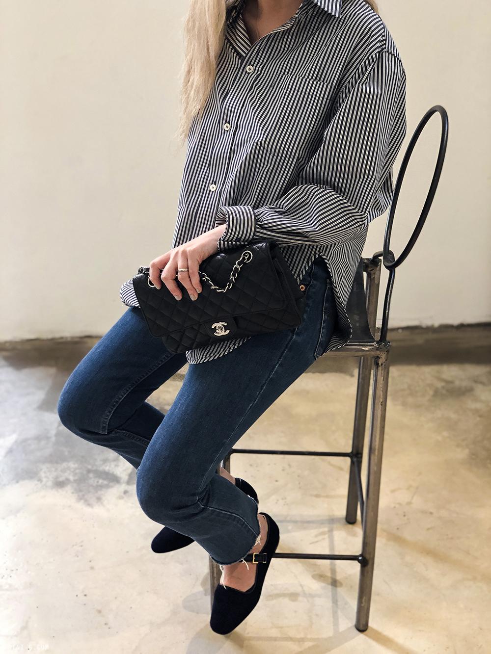Trini | Levi's 501 jeans Balenciaga striped shirt