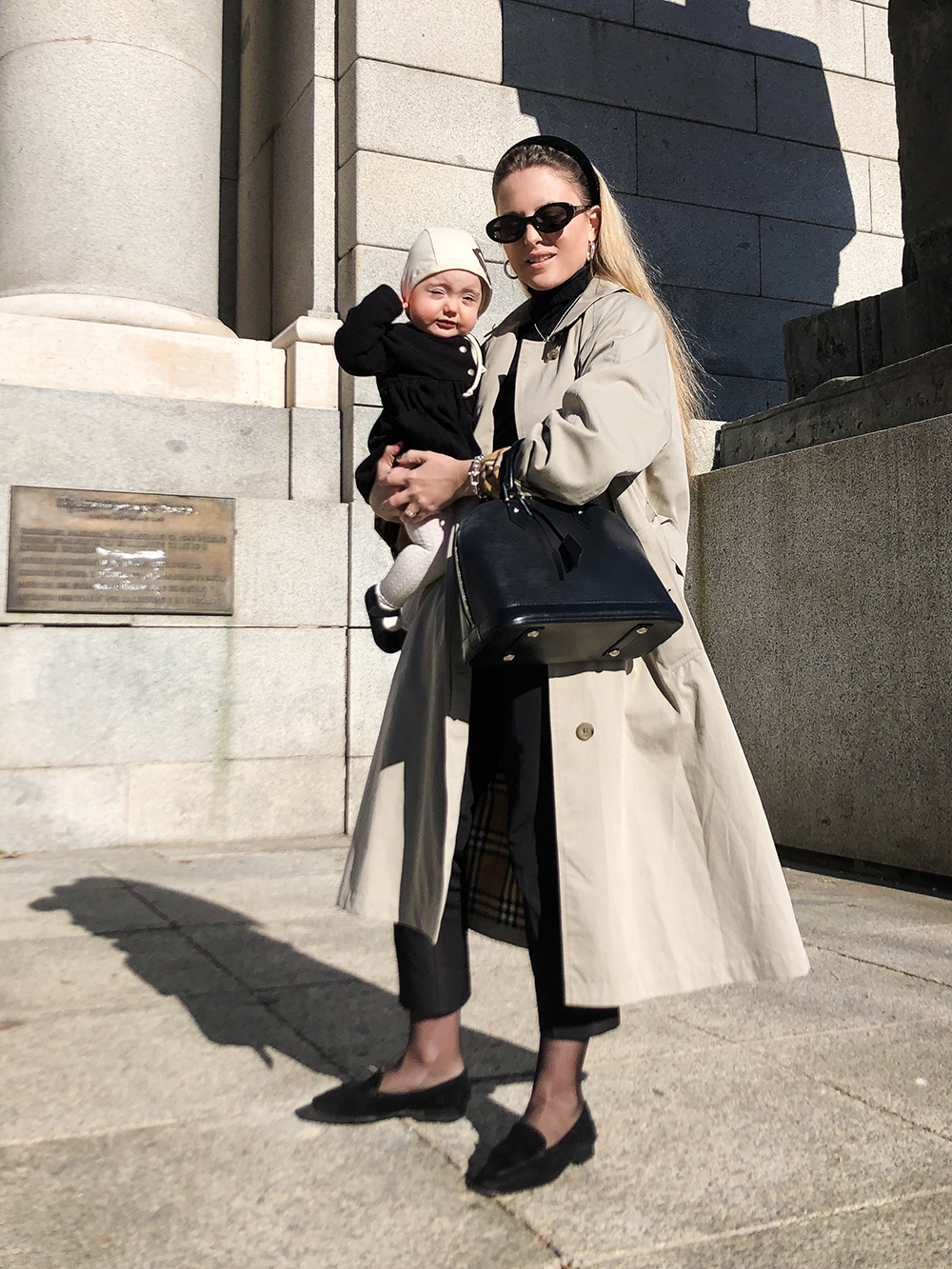 Trini | Burberry trench coat Prada pants