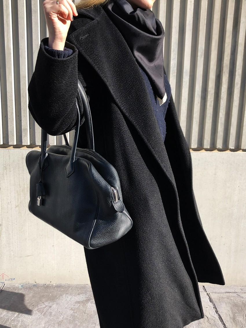 Trini | Max Mara black coat Khaite jeans