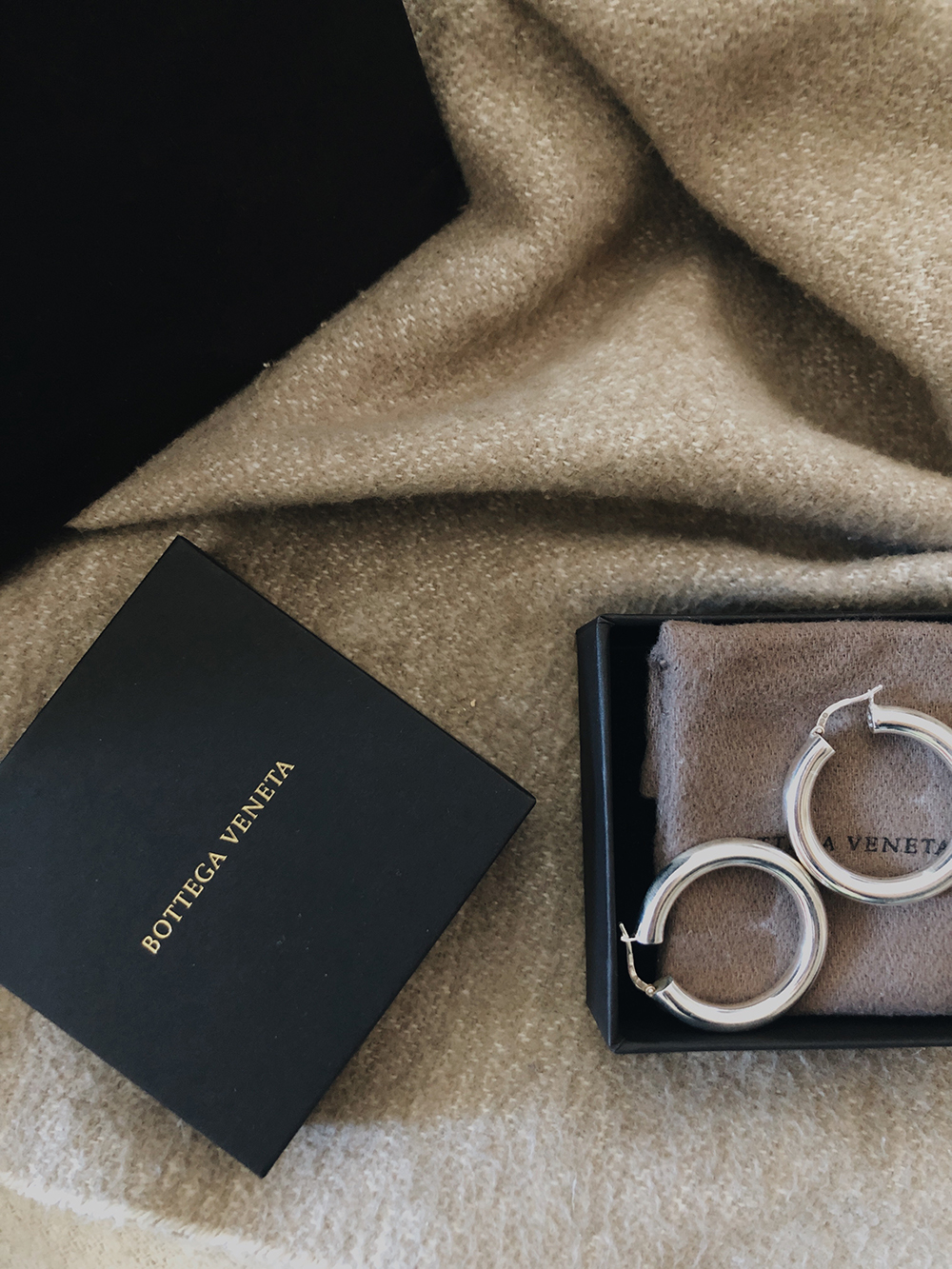 Trini | Bottega Veneta silver hoop earrings
