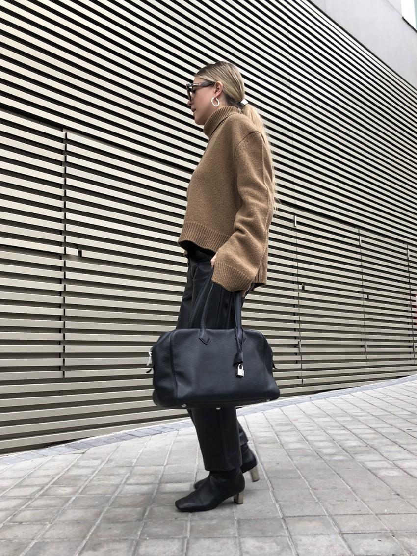 Trini   Celine sweater Max Mara leather pants