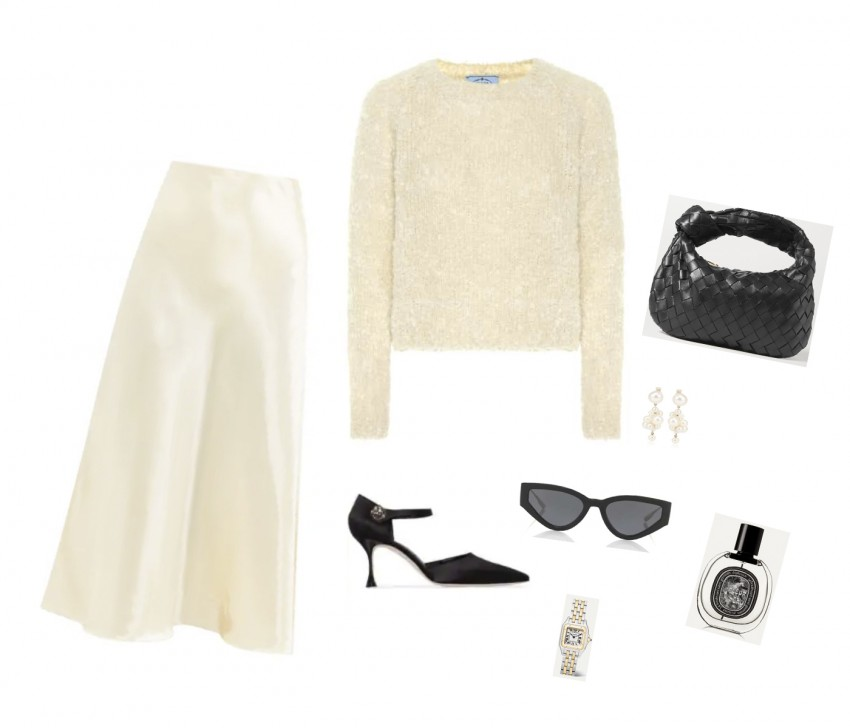 Trini | The Row skirt Prada sweater