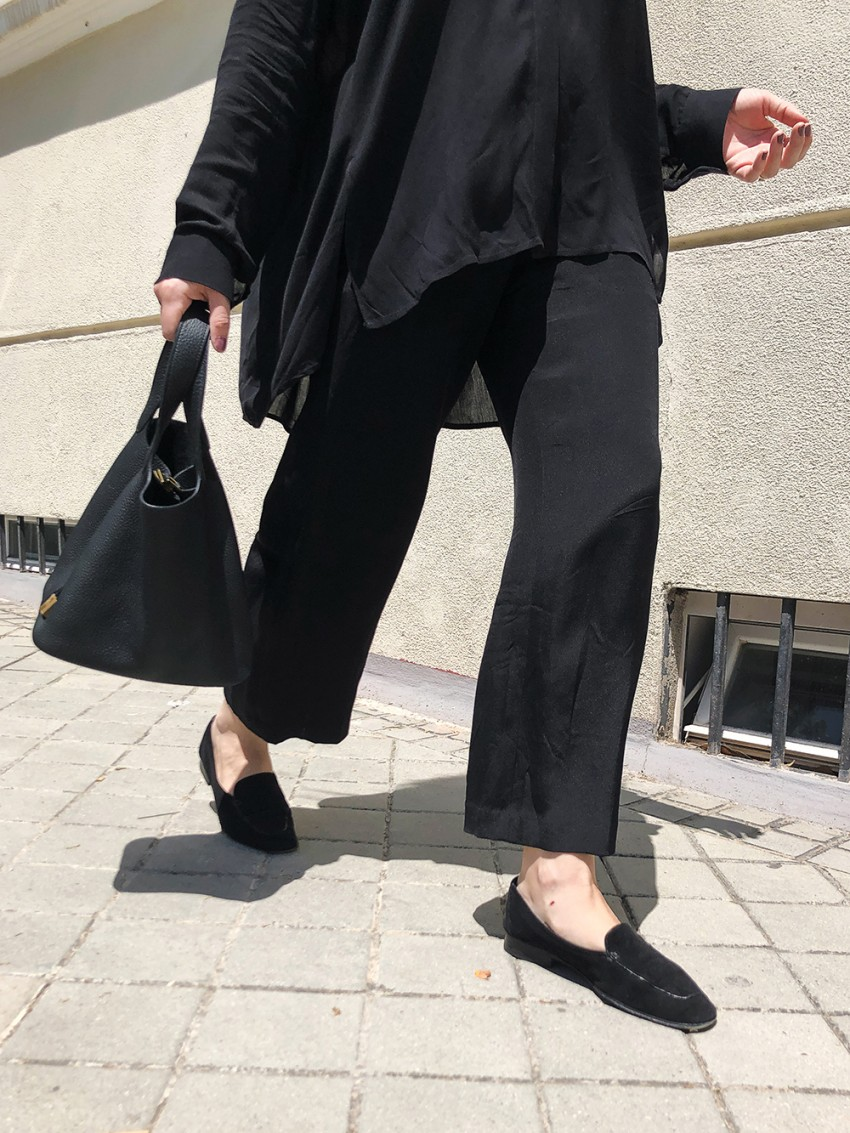 Trini | The Row shirt Theyskens Theory pants