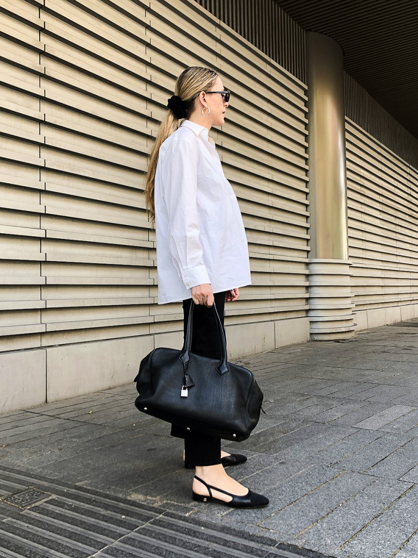 Trini | The Row shirt Chanel slingback