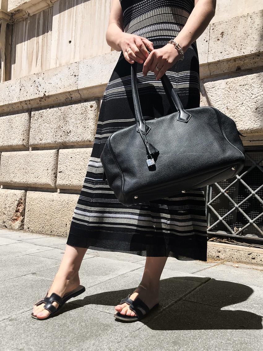 Trini | Proenza Schouler dress Hermes Oran sandals