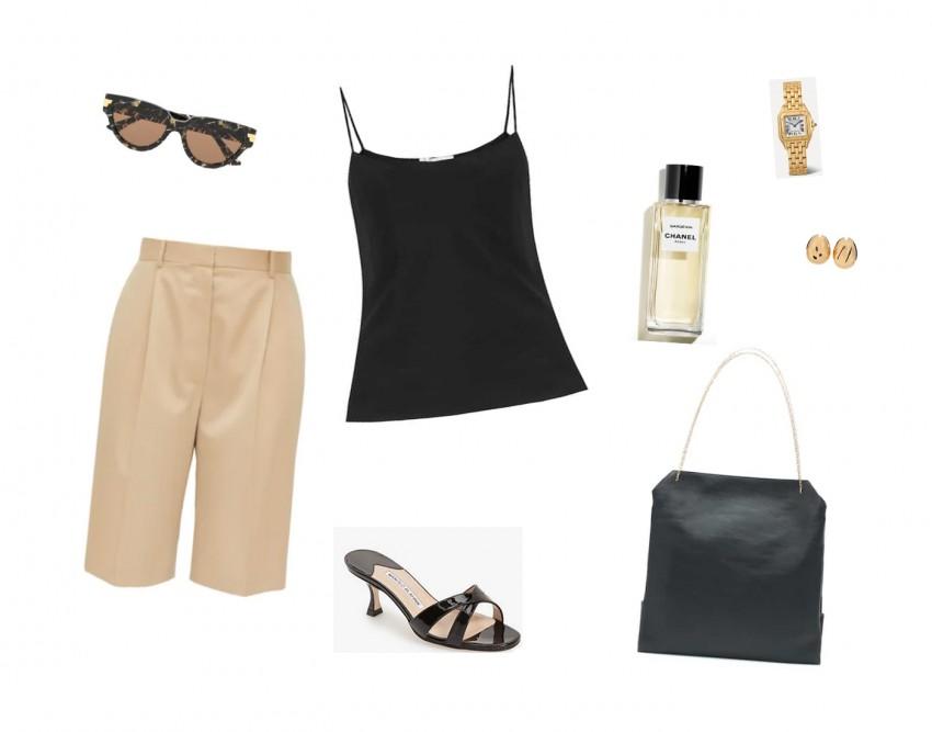 Trini | The Row shorts Bottega Veneta sunglasses