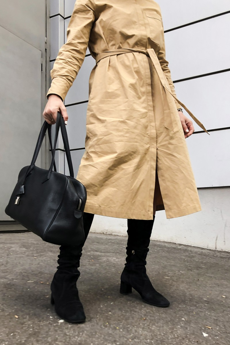 Trini | Prada boots Hermes bag
