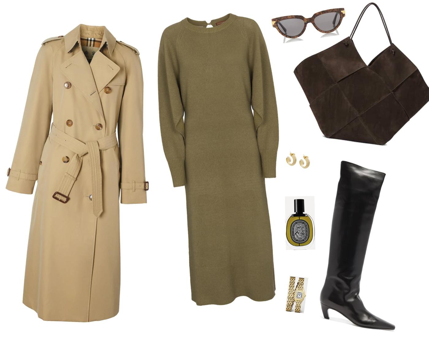 Trini | Burberry trench coat Altuzarra dress