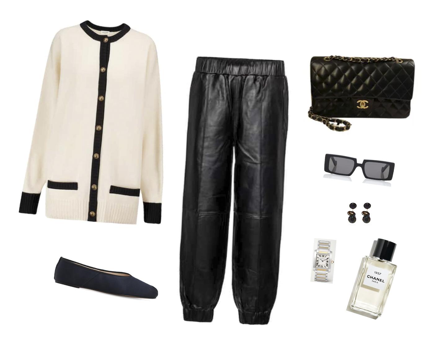 Trini | Saint Laurent cardigan Chanel bag